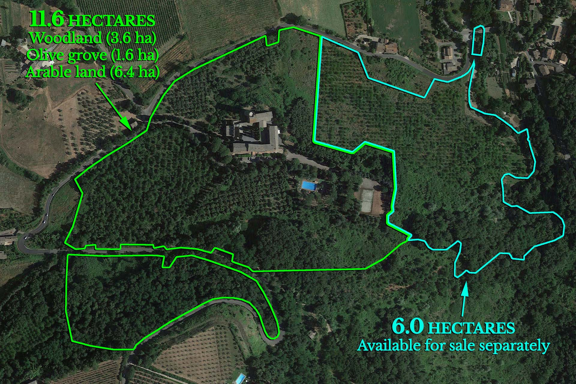A map of the property where you can see the land currently included with the property and what can be bought separately. Click to open a downloadable version of the map.